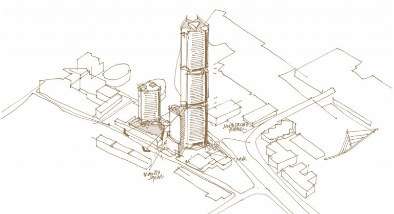 Architect's sketch of Aspen Canary Wharf, London
